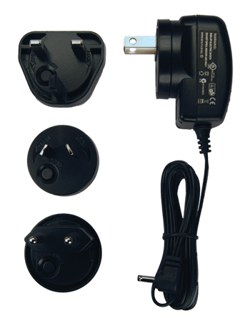 This photo shows the included interchangeable plugs that enable the AC adapter to be used virtually anywhere in the world providing the user with complete global flexibility.