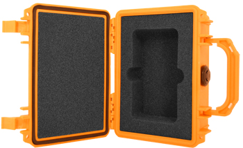 The Made In America Pelican case together with the custom, military-grade foam insert has been specifically designed for protecting all PRM-X000 Geiger counters. The case is shown here is yellow.