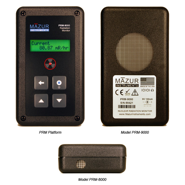 The photo shows the Mazur Instruments family of Geiger counters used for nuclear radiation detection. The photo includes the PRM-7000, PRM-8000 and PRM-9000.